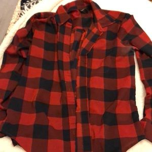 Polyester plaid button up.